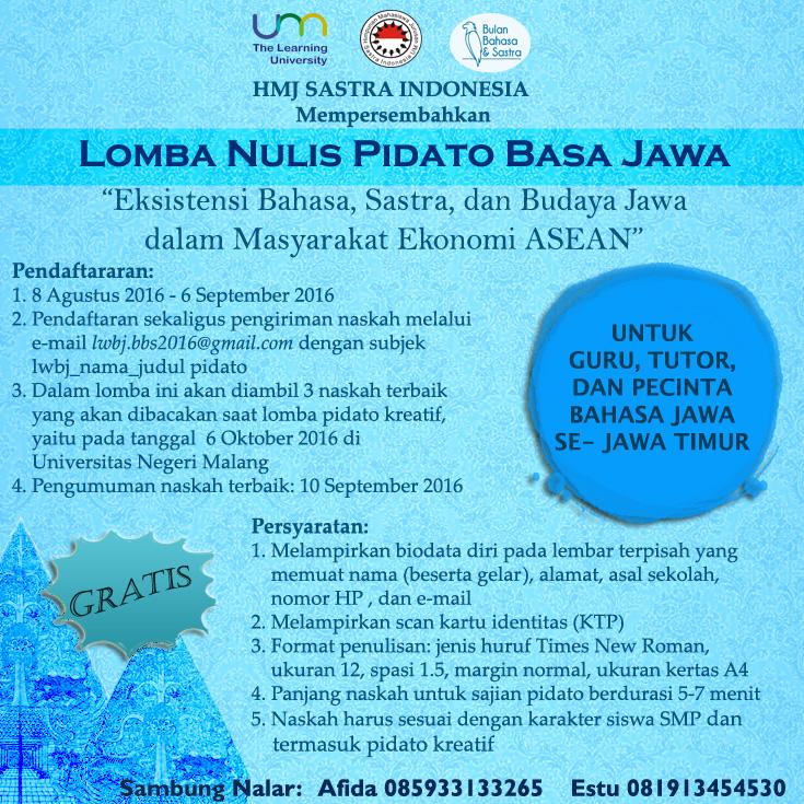 Pengumuman Pemenang Lomba Nulis Pidato Basa Jawa dan Petunjuk Pelaksanaan Lomba Wasis Basa Jawa BBS 2016