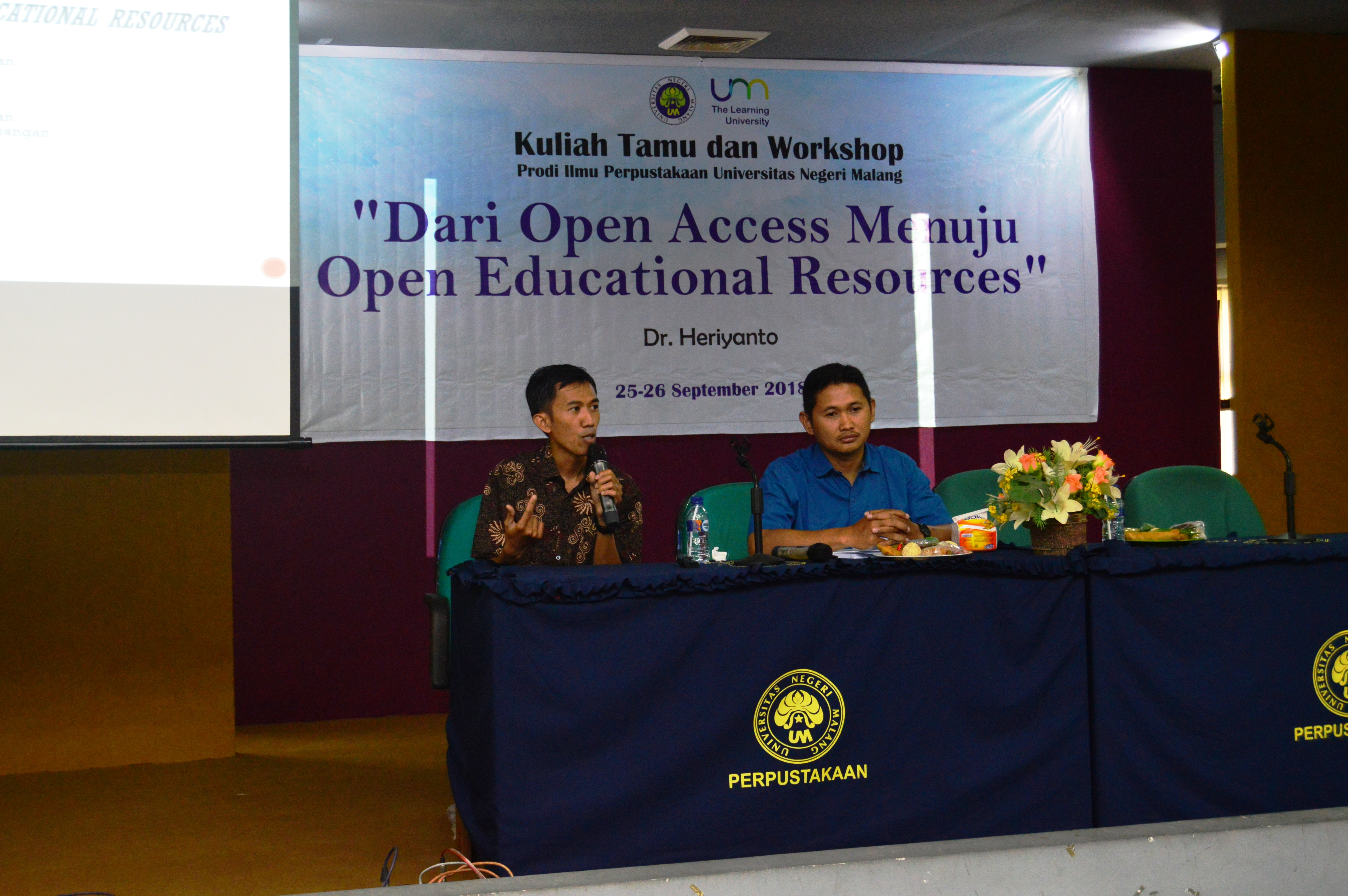 "Kuliah Tamu dan Workshop Prodi Ilmu Perpustakaan Universitas Negeri Malang ""Dari Open Access menuju Open Educational Resources"""